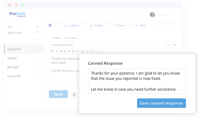 Canned responses with help desk software