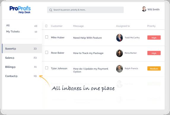 shared Inbox in help desk software