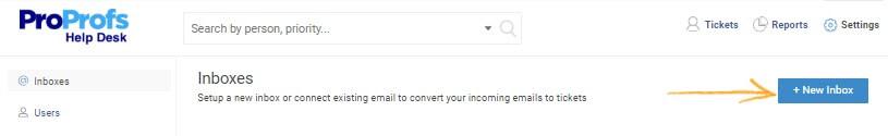 proprofs help desk new inbox