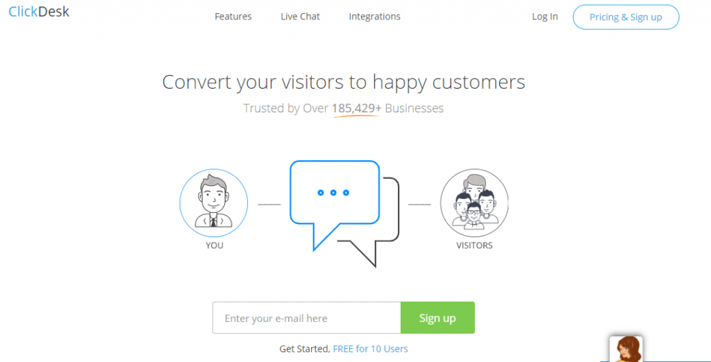 Clickdesk tools for voice and video chats