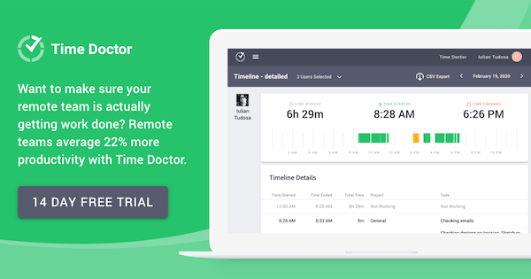 TimeDoctor is an effective tool to track your remote work productivity