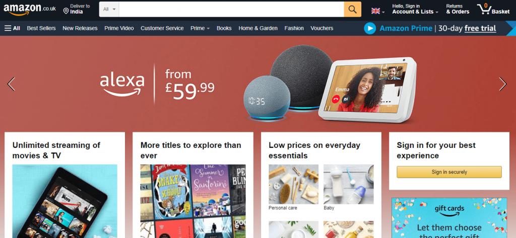 Amazon UK Website