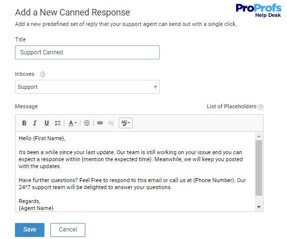 Add a canned response in help desk software