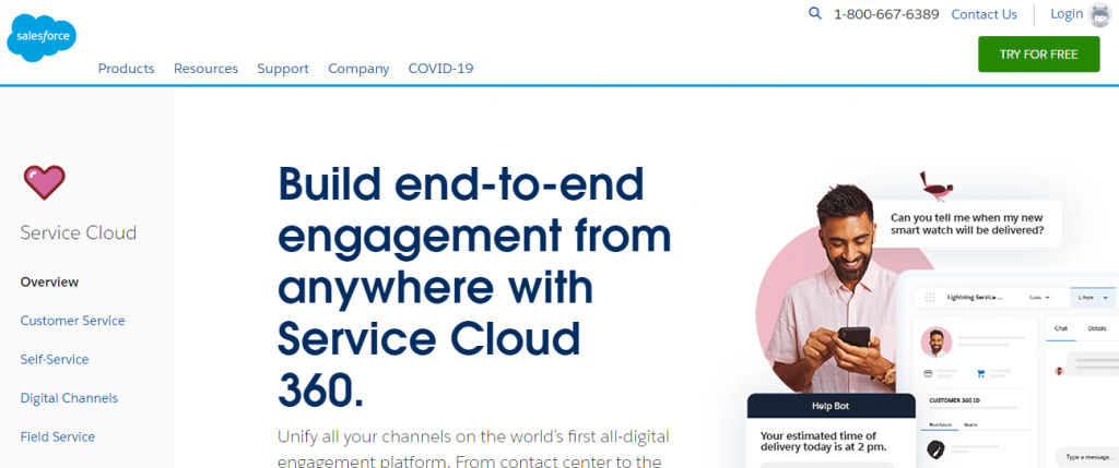 Salesforce Service Cloud is a cloud-based customer support software