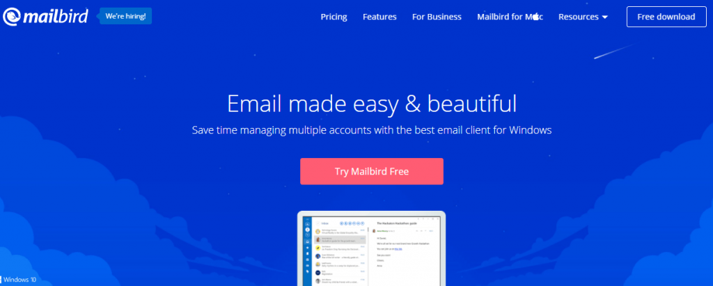 Mailbird is an email client for Windows