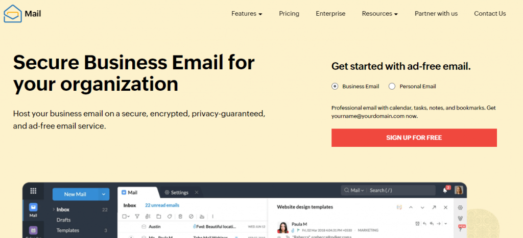 Zoho Mail is a popular ad-free email management servic